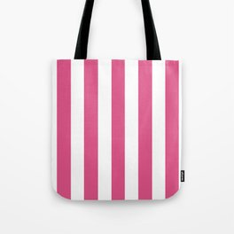 Fandango pink - solid color - white vertical lines pattern Tote Bag