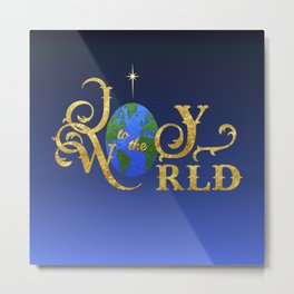 Joy to the World Golden Metal Print