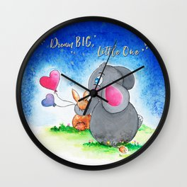 Ellie and Bunny - Dream Big Wall Clock