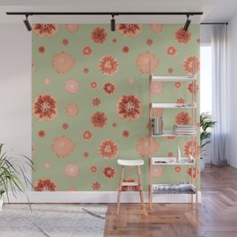 Large floral print on sage green backdrop Wall Mural