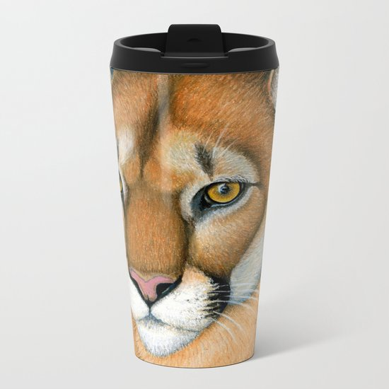 Cougar Portrait Metal Travel Mug