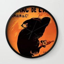 Vintage Cognac de l'Aigle Brandy Alcoholic Beverage Advertising Poster Wall Clock