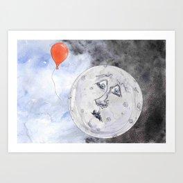 Moon and the Balloon Art Print