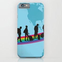 Travelers - Migrantson on rainbow around the earth iPhone Case