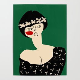 Girl with flower crown Poster