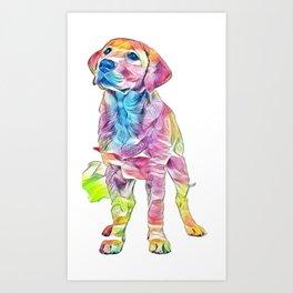 dog animal blond canine Art Print