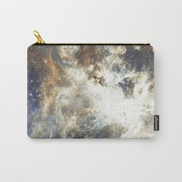 Abstract brown sky blue glitter galaxy nebula pattern Carry-All Pouch