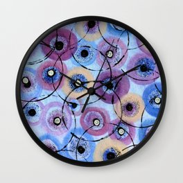 Circles and Flowers- Blue Wall Clock