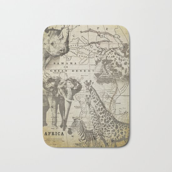 Out of Africa vintage wildlife art Bath Mat