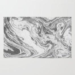 Akio - black and white grey minimal modern abstract marble painting retro minimalism urban bklyn Rug