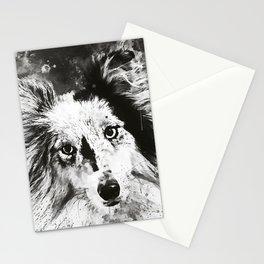 border collie dog 5 portrait wsbw Stationery Cards