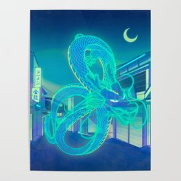 Neon Dragon Poster