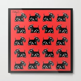 Scottie Dogs Black and Red Pattern Metal Print