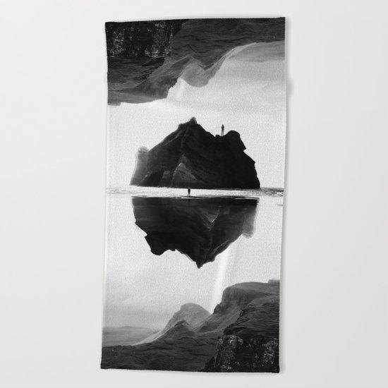 Black and White Isolation Island Beach Towel
