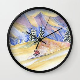 Powder Skiing Art Wall Clock