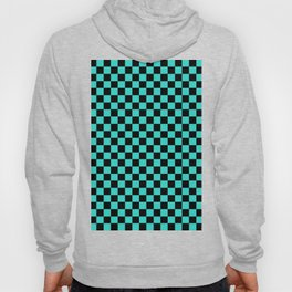 Black and Turquoise Checkerboard Hoody