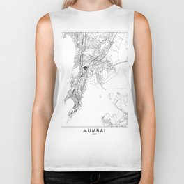 Mumbai White Map Biker Tank