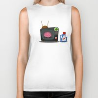 tv Biker Tanks featuring Television by Mountain Top Designs