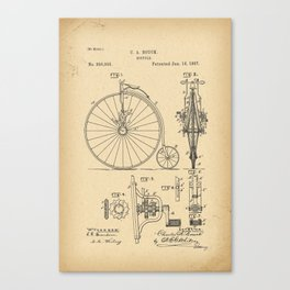 1887 Patent Bicycle Velocipede Canvas Print