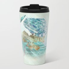 Hydrangea and butterfly Metal Travel Mug