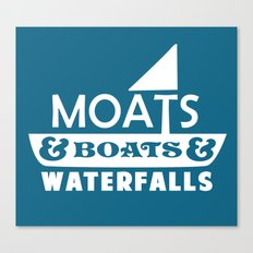 Moats and Boats and Waterfalls Graphic in Blue Canvas Print
