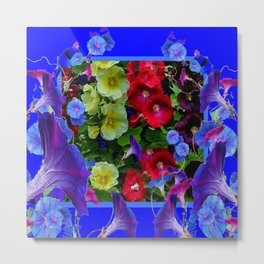 HOLLYHOCKS & MORNING GLORIES COTTAGE BLUE ART Metal Print