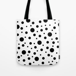 Black on White Polka Dot Pattern Tote Bag