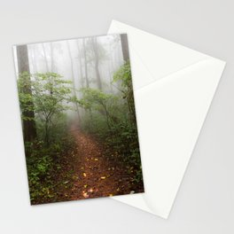 Adventure Ahead - Foggy Forest Digital Nature Photography Stationery Cards