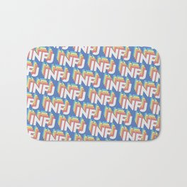 INFJ Trendy Rainbow Text Pattern (Blue) Bath Mat