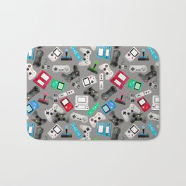 Watercolor Gaming Video Game Devices Pattern Gray Bath Mat