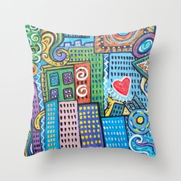Pretty City two Throw Pillow
