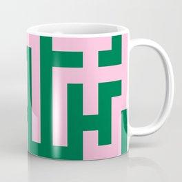 Cotton Candy Pink and Cadmium Green Labyrinth Coffee Mug
