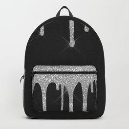 Black & Silver Glitter Drips Backpack