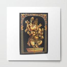 Batik Hindu Elephant God Dancing Ganesha Tapestry  Batik Hindu Elephant God Dancing Ganesha Tapestr Metal Print