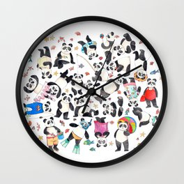 Panda mess Wall Clock