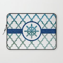 Ship Helm: Tropical Water Moroccan Pattern Laptop Sleeve