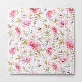 Pink and Cream Pastel Flowers Metal Print