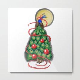 Fancy Peacock Christmas Tree Metal Print