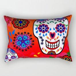 Sugar Skulls in Red  (Calavera) Rectangular Pillow