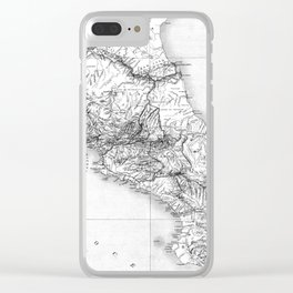 Vintage Map of Costa Rica (1903) BW Clear iPhone Case