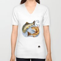 trout V-neck T-shirts featuring Trout and Redfish  by Mantas