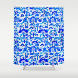 Exotic Garden Blue Shower Curtain