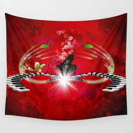 Pianos and key notes Wall Tapestry