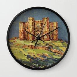 Apulia Castle del Monte vintage Italian travel ad Wall Clock