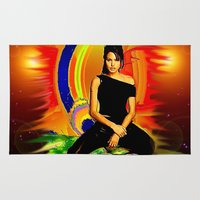 angelina jolie Area & Throw Rugs featuring Angelina Jolie by JT Digital Art