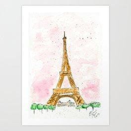 Pink Sky Eiffel Tower Watercolor Art Print