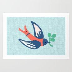 The bird in blue Art Print