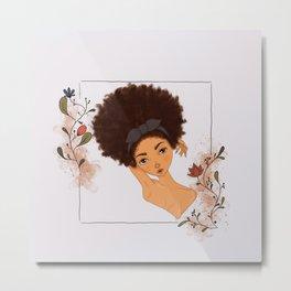 Fros & Flowers: Thadie- Afro Girls  Metal Print
