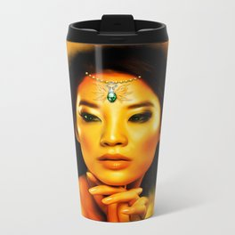 Green Eyed Beauty Metal Travel Mug