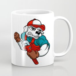 dog plumber holding a big wrench Coffee Mug